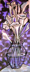 Painting of calla lillies on purple background
