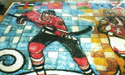 Hockey player mosaics by Francisco Mendoza