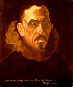 Incomplete oil portrait of Francisco Pacheco