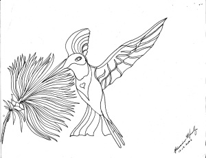 Hummingbird and flower ink drawing