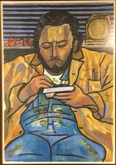 A painting portrait of the artist Salvador Vega